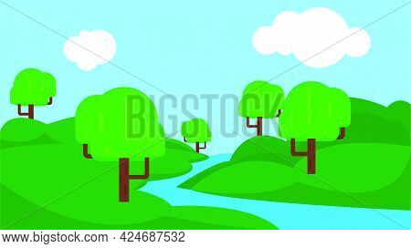 Cartoon Flat Panorama Of Spring Summer Beautiful Nature, Green Grassland Meadow With Blue Lake, Moun