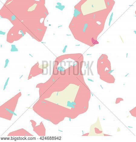 Terrazzo Seamless Pattern. Pink Venetian Flooring Texture. Terrazzo Seamless Pattern In Cool Colors.