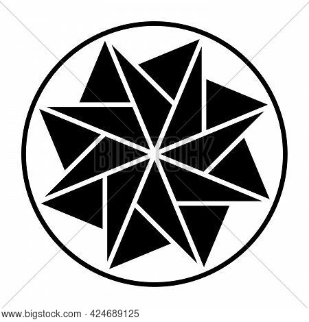 Eight-pointed Star Made Of Triangles, Within A Circle Frame. Pattern, Formed By Symmetric Arranged T