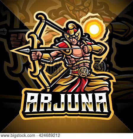 Arjuna Archer Esport Mascot Logo Design With Text