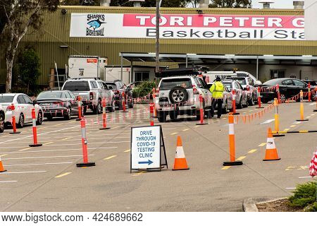 Sydney, Australia - 2020-09-02 COVID-19 drive trough testing clinic at Sutherland Basketball stadium in Sutherland Shire