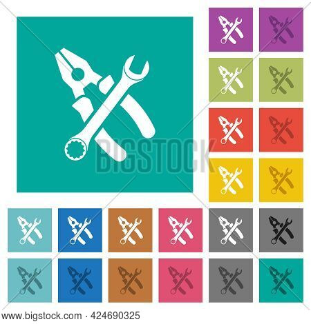 Combined Pliers And Wrench In Crossed Position Multi Colored Flat Icons On Plain Square Backgrounds.