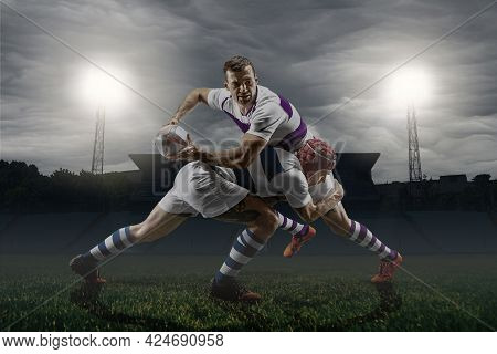 Two Professional Male Rugby Players Playing Isolated On Stadium Background. Concept Of Sport, Action
