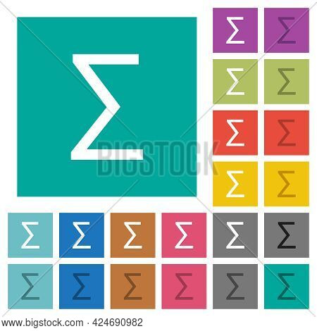 Sum Symbol Multi Colored Flat Icons On Plain Square Backgrounds. Included White And Darker Icon Vari