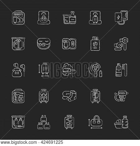 Travel Size Objects Chalk White Icons Set On Dark Background. Portable Stuff For Flight Passenger. E