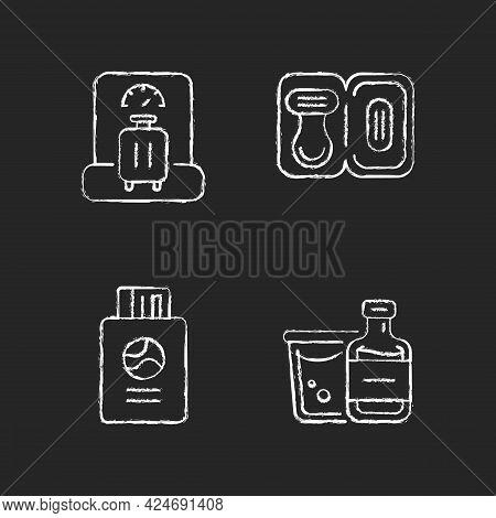 Tourist Baggage For Travel Chalk White Icons Set On Dark Background. Luggage Check. Passport With Ti