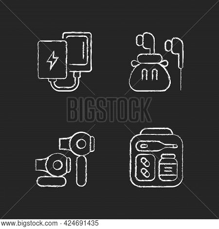 Traveller Luggage Chalk White Icons Set On Dark Background. Compact Powerbank And Headphones. First