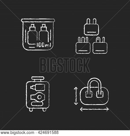 Portable Travel Essentials Chalk White Icons Set On Dark Background. Compact Bag. Traveller Plugs. O