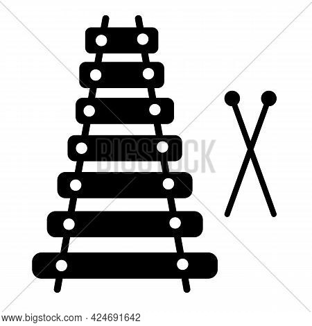 Xylophone Icon On White Background. Xylophone Toy Symbol. Children's Funny Musical Percussion Instru
