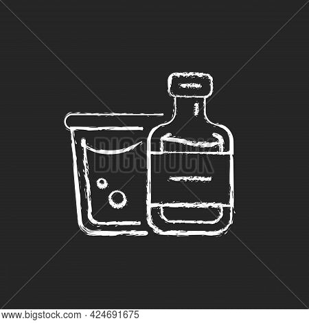 Airplane Alcohol Chalk White Icon On Dark Background. Mini Bottled Drinks From Duty Free. Portable A
