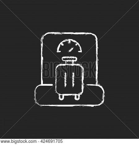 Baggage Weight Chalk White Icon On Dark Background. Luggage Weighing In Airport. Traveller Suitcase