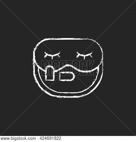 Sleeping Mask And Earplugs Chalk White Icon On Dark Background. Portable Amenities For Bedtime In Ai
