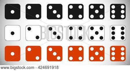 Dice. Set Of Dice Isolated On A White Background. Vector.
