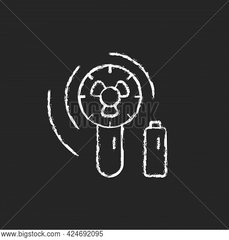 Mini Travel Fan Chalk White Icon On Dark Background. Portable Amenities For Comfort During Summer Va