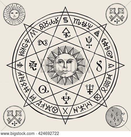 Hand-drawn Illustration With The Sun Inside An Octagonal Star And Esoteric Symbols On An Old Paper B