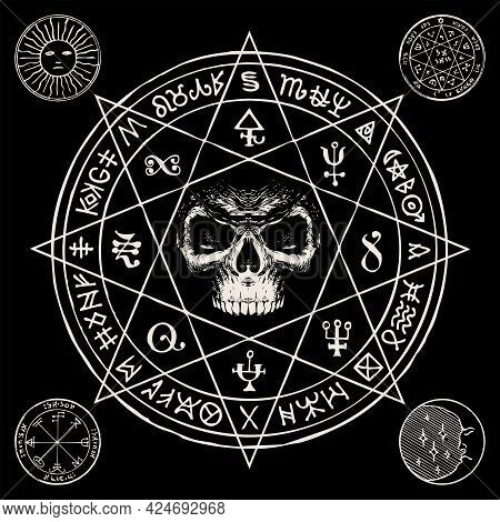 Hand-drawn Illustration With A Sinister Human Skull Inside An Octagonal Star And Esoteric Symbols On