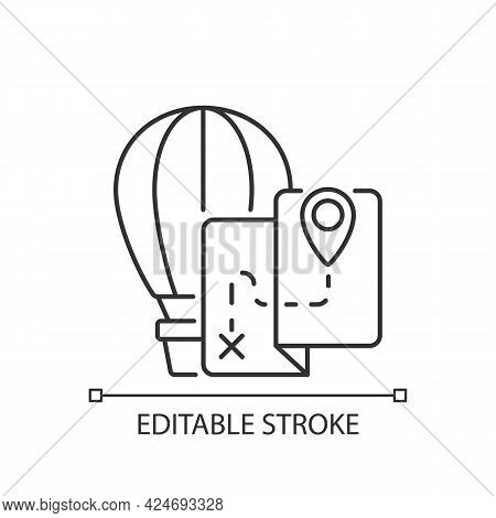 Hot Air Balloon Tourism Linear Icon. Flight Journey. Fly High In Basket. Tour Plan. Thin Line Custom