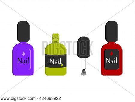 A Set Of Bottles With Nail Polish. Three Different Bottle Designs. Design For Beauty Salons, Beauty