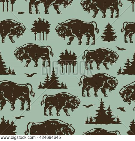 National Park Monochrome Seamless Pattern With American Bisons Trees And Flying Birds In Vintage Sty
