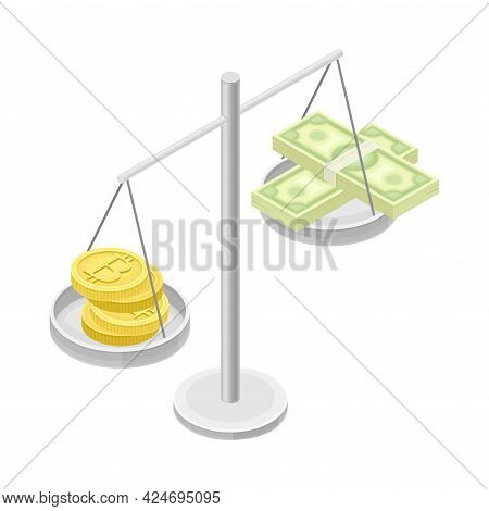 Blockchain Technology With Scales Weighing Bitcoin Gold Coin And Dollar Banknote Isometric Vector Il