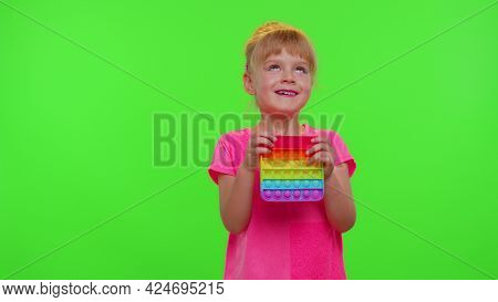 Tired Bored Children Girl Squeezing Presses Colorful Anti-stress Touch Screen Push Pop It Popular To