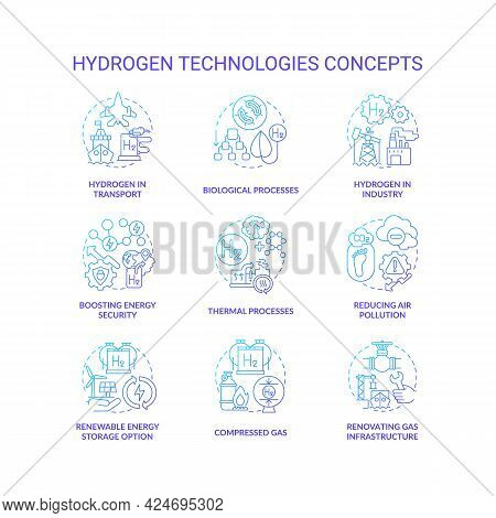 Hydrogen Technologies Concept Icons Set. Reduce Pollution Idea Thin Line Color Illustrations. Renova