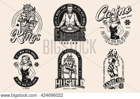 Casino Vintage Monochrome Badges With Croupier Pretty Woman With Royal Flush Of Hearts Skeleton Gamb