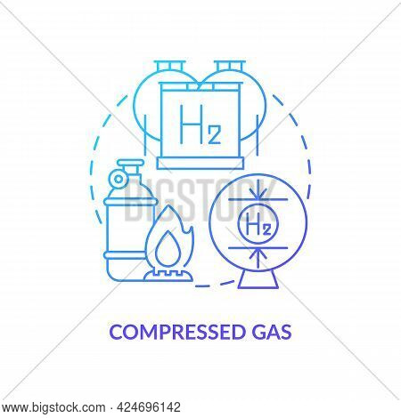 Compressed Gas Concept Icon. Hydrogen Storage Abstract Idea Thin Line Illustration. Energy-intensive
