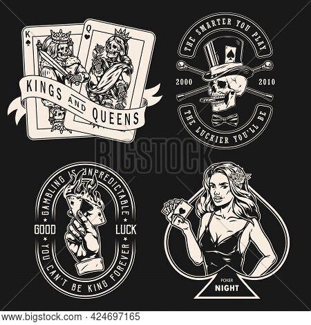 Gambling Vintage Emblems With Gambler Skull Smoking Cigar Walking Canes Skeleton King And Queen Play