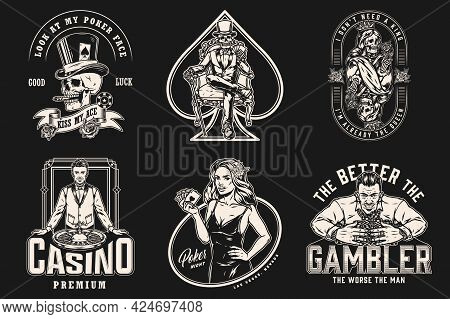 Casino Vintage Emblems With Croupier Rich Player With Gambling Chips Attractive Poker Lady Skull Smo