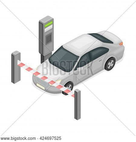 Chargeable Parking Facility With Car Standing In Front Of Auto Barrier Isometric Vector Illustration