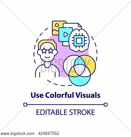 Use Colorful Visuals Concept Icon. Viral Content Creation Abstract Idea Thin Line Illustration. Visu