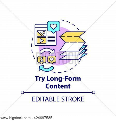Try Long-form Content Concept Icon. Viral Content Creation Abstract Idea Thin Line Illustration. Pro