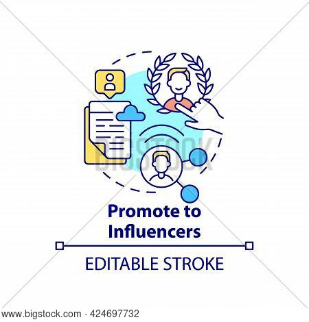 Promote To Influencers Concept Icon. Viral Content Creation Tip Abstract Idea Thin Line Illustration