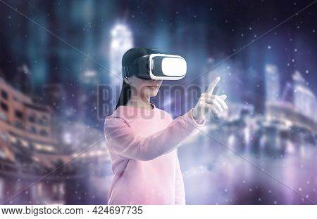 Woman Using Virtual Reality Headset And Getting In Simulated Futuristic World