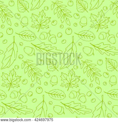 Seamless Pattern Falling Leaves, Acorns, Berries. Vector Autumn Texture Isolated On Green Background