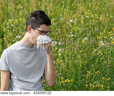 Young Short-sighted Boy In Glasses Sneezes From Allergy From Herbs On The Flowery Field In Spring