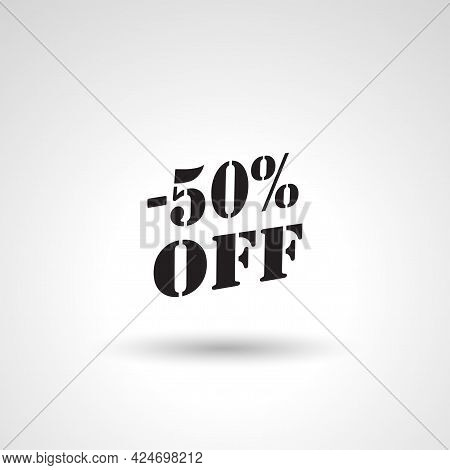 Save 50% Offer Label Sign. Save 50% Isolated Simple Vector Icon