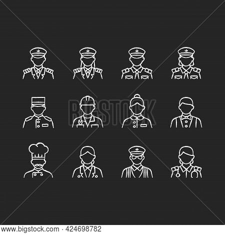 Cruise And Hotel Staff Chalk White Icons Set On Dark Background. Service Providers For Customers. Co