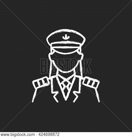 Female Captain Chalk White Icon On Dark Background. Main Person During Cruise. Organizing Vacation F