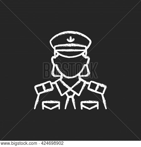 Female Chief Officer Chalk White Icon On Dark Background. Helping Ship Captain Controlling Staff. Cr