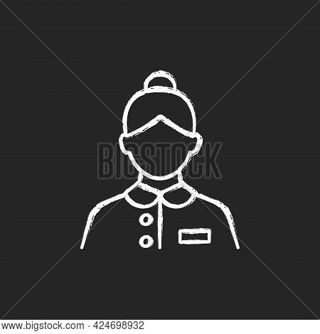 Abin Steward Chalk White Icon On Dark Background. Cleaning Room Of Passengers During Traveling. Answ