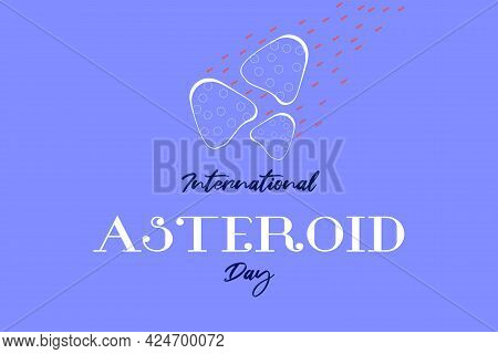 International Asteroid Day Vector Design. Flying Asteroid In Space