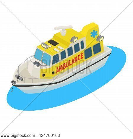 Ambulance Boat Icon Isometric Vector. Emergency Ambulance Rescue Ship. Urgency Medical Transportatio