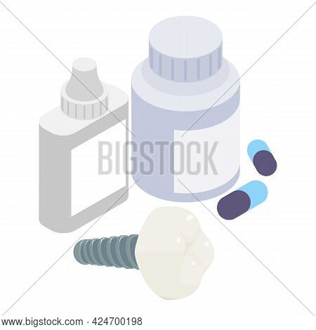 Dental Implant Icon Isometric Vector. Tooth Implantation. Dentistry Medicine Pill