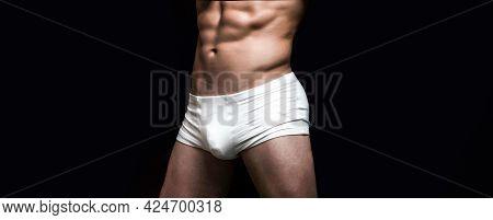 Man In White Shorts. Handsome Muscular Macho In White Underwear. Male Swimwear, Shorts, Underwear, C