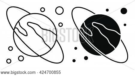 Planet Saturn With Ring Icon. Exploring Space And Solar System At School. Simple Linear Black And Wh