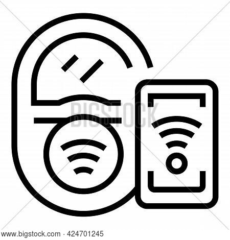Subway Wireless Ticket Icon. Outline Subway Wireless Ticket Vector Icon For Web Design Isolated On W