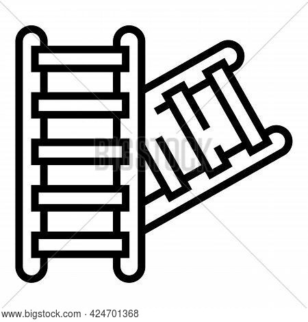 Subway Ladder Icon. Outline Subway Ladder Vector Icon For Web Design Isolated On White Background