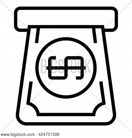 Subway Money Ticket Icon. Outline Subway Money Ticket Vector Icon For Web Design Isolated On White B